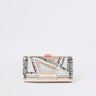 River Island Grey snake embossed cutabout cliptop purse