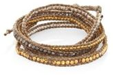Chan Luu Swarovski Crystal & Leather Beaded Wrap Bracelet