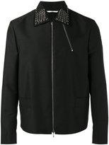 Valentino eyelet enbellished collar jacket - men - Polyamide/Cupro/Mohair/Virgin Wool - 46