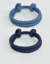 Asos Rope Bracelet Pack In Denim