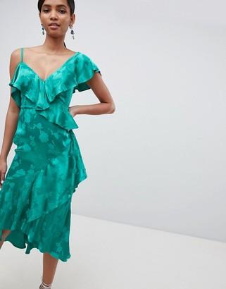 Asos Design DESIGN occasion ruffle midi dress in satin jacquard