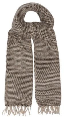 Raey Fringed Tweed-effect Cashmere Scarf - Mens - Grey