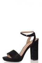 Quiz Black Faux Suede Block Heel Strappy Sandal