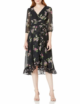 Taylor Dresses Women's Elbow Sleeve Floral Ruffle Dress