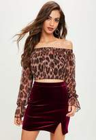 Missguided Burgundy Velvet Split Front Mini Dress