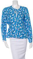 Tanya Taylor Silk Floral Print Peplum Top