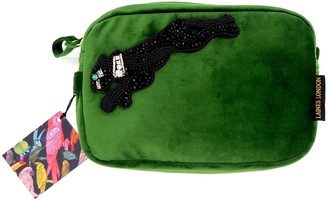Laines London Green Velvet Bag With Crystal Panther Brooch
