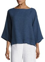 Eileen Fisher Rustic Frayed-Edge Top, Denim