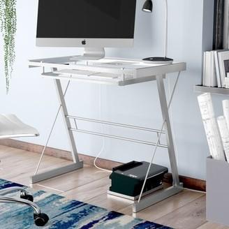 Ebern Designs Priya Metal and Glass Computer Desk Finish: Silver
