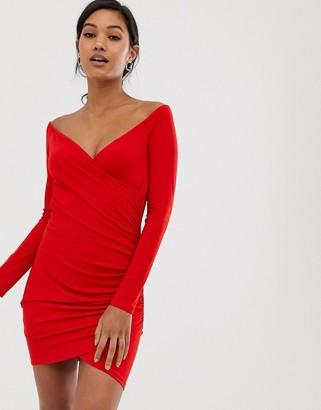 AX Paris bardot ruched bodycon mini dress-Red