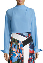 Emilio Pucci Long-Sleeve Silk Blouse, Cornflower Blue
