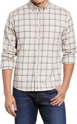 Billy Reid Offset Pocket Windowpane Cotton & Linen Button-Down Shirt