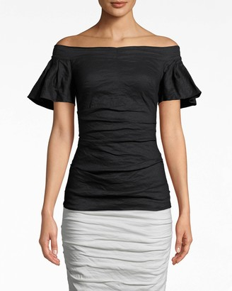 Nicole Miller Solid Cotton Metal Off The Shoulder Top