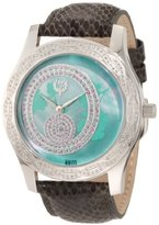 Brillier Women's 03-41626-01 Kalypso Green Dial Puprle Snakeskin Watch