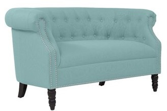 Andover Mills Quinones Chesterfield 54 inches Rolled Arms Loveseat Upholstery Color: Sky Blue Linen