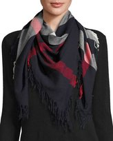 Burberry Color Check Wool Scarf, Navy