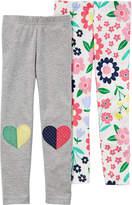 Carter's 2 Pack Printed Knit Leggings - Preschool Girls