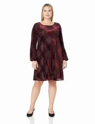 Taylor Dresses Women's Plus Size Long Sleeve Plaid Shift Dress