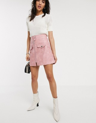Topshop zip through faux leather mini skirt in pink