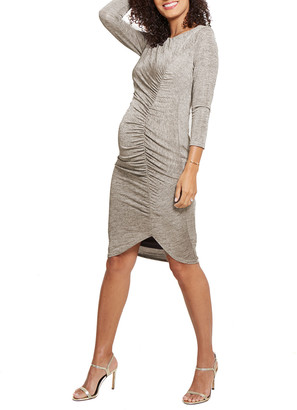 Ingrid & Isabel Maternity 3/4-Sleeve Front Shirred Dress