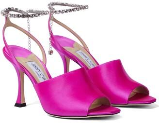 Jimmy Choo Sae 90 embellished satin sandals