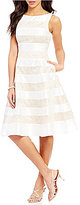 Adrianna Papell Mikado Fit-and-Flare Striped Lace Midi Dress