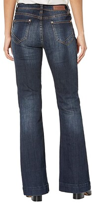 Rock and Roll Cowgirl High-Rise Trousers with Front Center Seam Detail in Dark Wash W8H6099