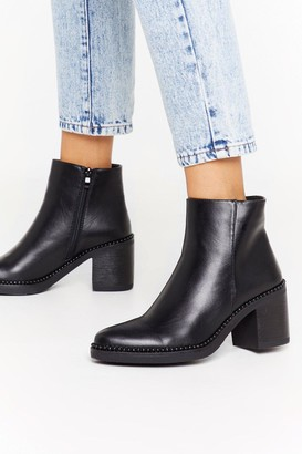 Nasty Gal Womens Never Been Stud Up Faux Leather Ankle Boots - Black