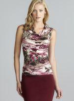 Tahari Sleeveless Raspberry Cowl Neck Printed Top