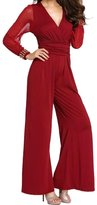U-WARDROB Women's Long Sleeve V-Neck See Through Lace Splicing Flare Casual Jumpsuit