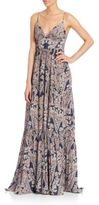 L'Agence Honore Paisley-Print Silk Maxi Gown