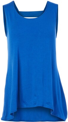 Star Vixen Women's Petite Sleeveless Double-V Bar Back Rayon Jersey Knit Top