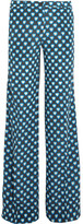 Miu Miu Printed Silk Crepe De Chine Flared Pants - Blue