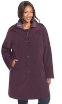 Gallery Plus Size Women's Two-Tone Long Silk Look Raincoat