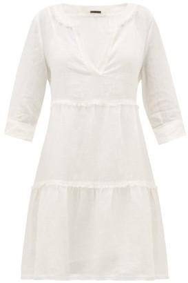 Heidi Klein Corsica Fringed Linen Mini Dress - White