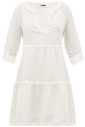 Heidi Klein Corsica Fringed Linen Mini Dress - Womens - White