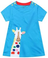 OHBABYKA Girls Cotton Cartoon Shortsleeve Stripe Dress,Cotton T-shirt Dress (18M, )