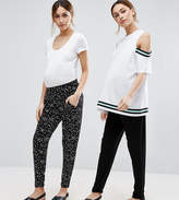 Asos Petite 2 Pack Jersey Peg Pants In Plain Black And Blurred Spot Print