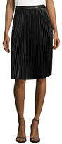 Manoush Leather Pleated Knee Length Skirt