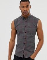 Asos Design DESIGN skinny fit sleeveless check shirt in denim