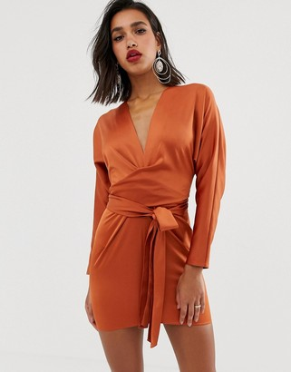 Asos Design DESIGN mini dress with batwing sleeve and wrap waist in satin