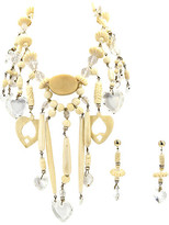 One Kings Lane Vintage Bone & Lucite Hearts Necklace & Earrings - Owl's Roost Antiques - bone/clear/silver