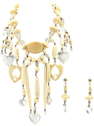 One Kings Lane Vintage Bone & Lucite Hearts Necklace & Earrings - Owl's Roost Antiques