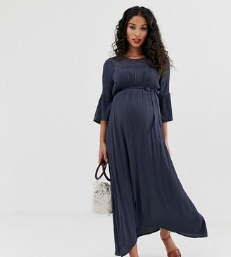 Mama Licious Mama.Licious Mamalicious maternity lace detail textured maxi dress-Blue