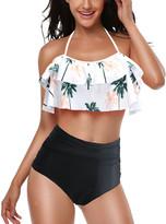 Coeur De Vague Coeur de Vague Women's Bikini Bottoms White&Black - White Floral Ruffle Halter Bikini Top & Black High-Waist Bikini Bottoms - Women