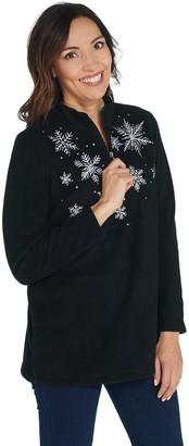 Quacker Factory Embroidered Half Zip Fleece Pullover