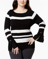 INC International Concepts Plus Size Embellished Bell-Sleeve Sweater, Created for Macy's