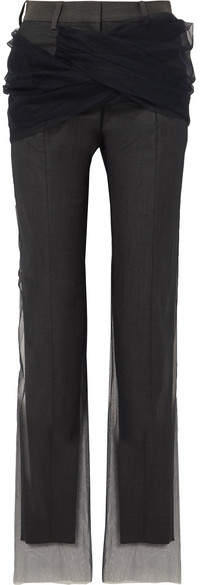 Y/Project Twisted Tulle And Twill Straight-leg Pants - Dark gray
