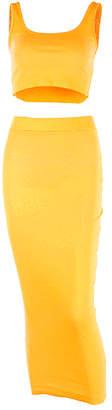 Yokodea Women's Maxi Skirts NeonYellow - Neon Yellow Sleeveless Crop Top & Midi Skirt - Women