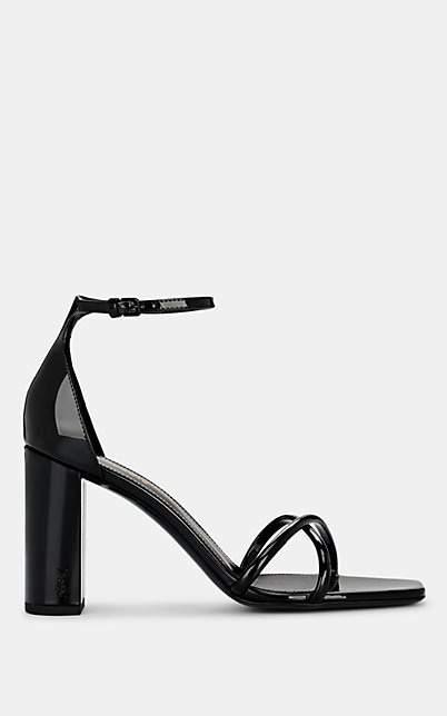 Saint Laurent Women's Patent Leather Ankle-Strap Sandals - Black